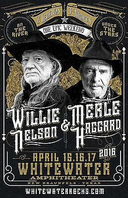 $26.39 • Buy Willie Nelson & Merle Haggard 2016  Whitewater Amphitheater  Concert Tour Poster