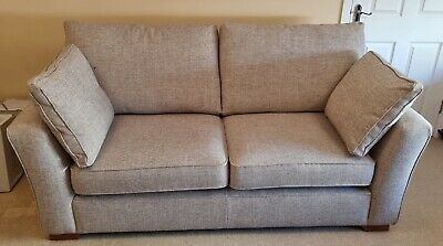 £1300 • Buy Next Heath Large Sofa Chunky Weave Mid Natural RRP £1150 X 2 & Matching Pouffes