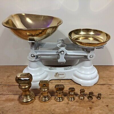 £60 • Buy Vintage Cast Iron WHITE Librasco Kitchen Scales And Brass Bell Weights