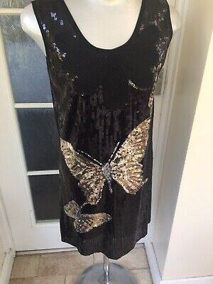 £4.99 • Buy Ladies Dress Size 12 Pussycat London. Black With Large Butterfly Sequin Design