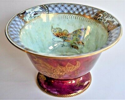 £224.50 • Buy Antique Wedgwood Butterfly Lustre Bowl 22cm Wide 14cm Tall Ruby Red C1920