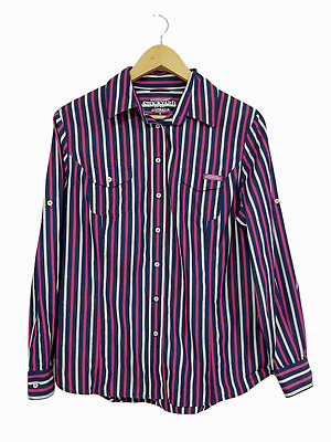AU28 • Buy RM WILLIAMS Stockyard Navy Pink Striped Button Up Long Sleeve Shirt Size 12