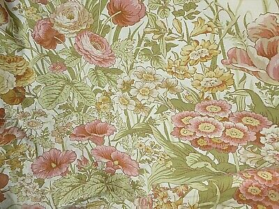 £49.99 • Buy Vintage Pair Of Sanderson 70s Floral 'Time Was' Cotton Fabric Lined Curtains