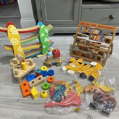 £12.99 • Buy BABY TODDLER Wooden Toy Bundle Learning ELC, Puzzles, Blocks, Build, Marble Run