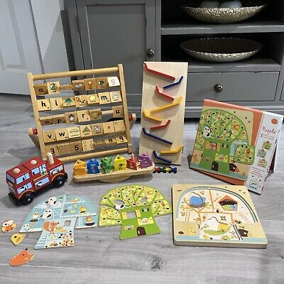 £14.99 • Buy BABY TODDLER Wooden Toy Bundle Learning, Puzzles, Shapes, Build, Alphabet, Block