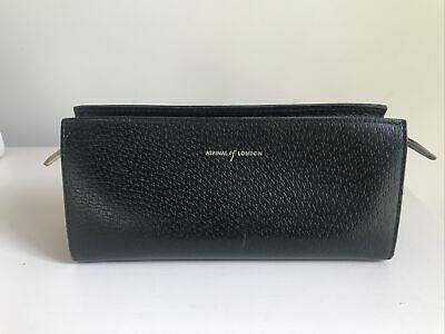 £30 • Buy ASPINAL Of LONDON Black Genuine Leather Clutch Pencil Case Lined Red 20 X 10CM