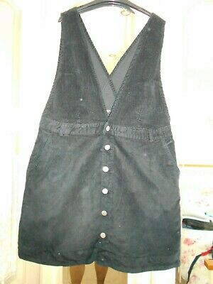 £3.99 • Buy Simply Be Button Front Black Stretch Corduroy Pinafore Dress Size 24 VGC