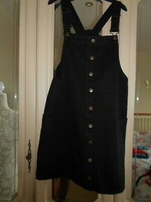 £5.50 • Buy Red Herring Black Button Front Denim Pinny Dress Pinafore Size 18 NEW