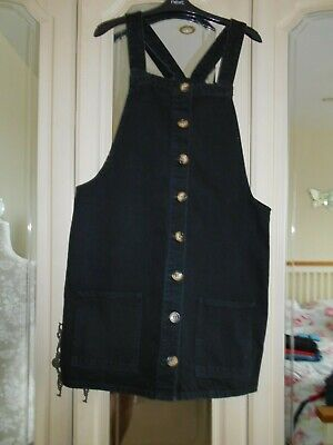 £3.99 • Buy Denim Co Black Button Front Pinafore Dress With Pockets Size 16 VGC
