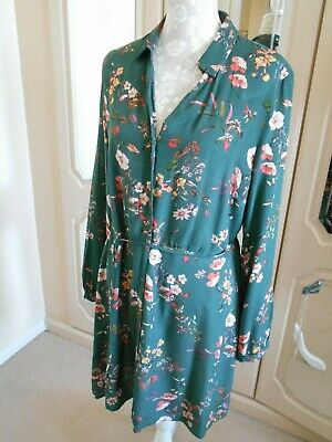 £1.99 • Buy F&F Green Floral Tie Belt Button Front Long Sleeve Dress Size 16