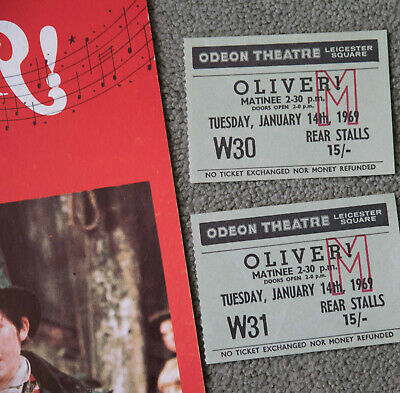 £2.50 • Buy OLIVER - THEATRE PROGRAMME + 2 Ticket Stubs ODEAN LEICESTER SQUARE 1st Jan 1969
