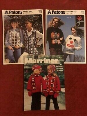 £3.50 • Buy Patons  And Marriner Granny Square & Other Crochet Sweater Jumper Patterns /514a