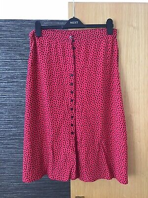 £4 • Buy Next Size 12 50's Style Button Through A-line Skirt- Red Polka Dot