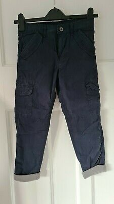 AU1.82 • Buy John Lewis Lined Navy Cargo Trousers Age 8 Bnwts Adjustable Waist Winter Warm