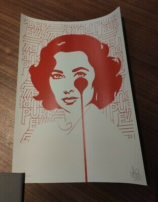 £129 • Buy PURE EVIL - Red Liz Taylor - Limited Edition Art Car Boot Print