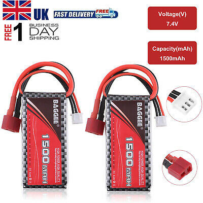 £0.99 • Buy 2PCS 7.4v 1500mAh 2S LiPo Battery 25C T Plug For RC Cars Boats Truck Helicopter