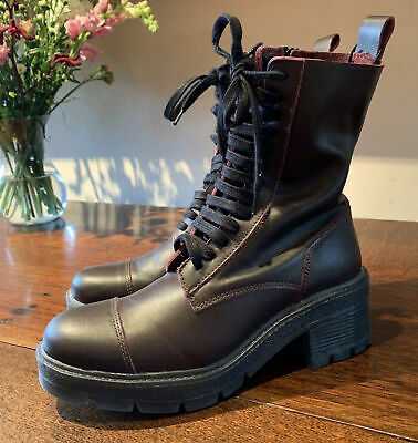 £28 • Buy Zara Burgundy Leather Lace Up Military Style Ankle Boots Size 4