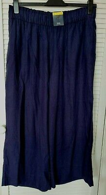 £12.50 • Buy New Marks And Spencer Women's Wide Cropped Long Navy Blue Trouser Size 16