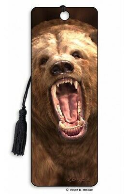 £3.97 • Buy 3D Bookmark Anger Angry Brown Grizzly Bear Teddy Bear Lover Gift Him Her