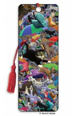 £4.49 • Buy 3D Bookmark Raining Cats And Dogs Puppy Kitten Umbrella Funny Animal Lover Gift