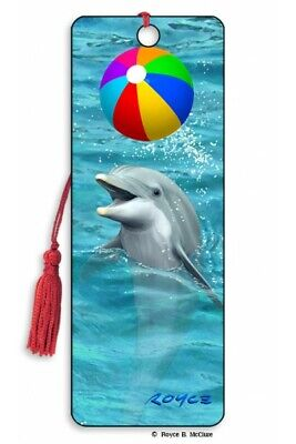 £4.29 • Buy 3D Bookmark Dophin Playing With Balloons Sea Animal Lover Gift Him Her Kids