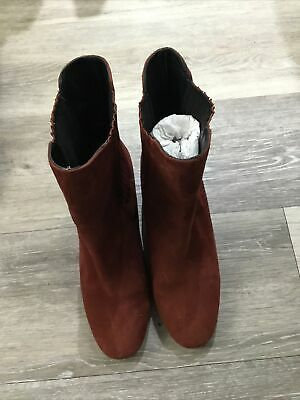 £7.50 • Buy M&S Autograph Suede Heeled Boots In Burgundy Size UK 5.5.