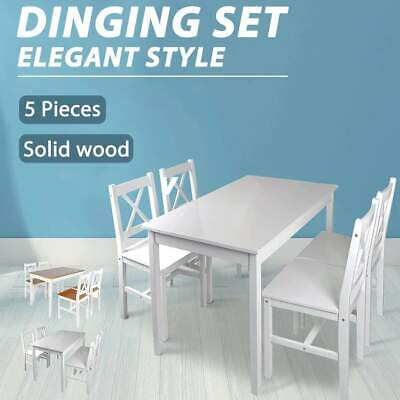 AU288.99 • Buy VidaXL Solid Wood Dining Set 5 Piece Kitchen Furniture Table Chair White/Brown