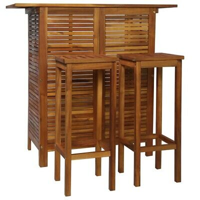AU295.99 • Buy VidaXL 3 Pieces Solid Acacia Wood Bar Table And Chair Set High Dining Set