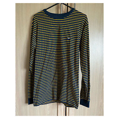 £10 • Buy Vans Off The Wall Classic Stripe Long Sleeve  T Shirt- Navy And Yellow Size S