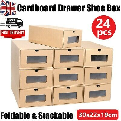 £12.95 • Buy 10/24PC Cardboard Drawer Shoe Storage Boxes Stackable Foldable Organiser Visible