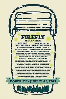 $15.61 • Buy FIREFLY MUSIC FESTIVAL 2013 CONCERT POSTER -Red Hot Chili Peppers, Tom Petty
