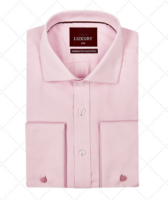 £19.99 • Buy M&S LUXURY Superior Cotton SLIM FIT Double Cuff SHIRT ~ Size 16 1/2  ~ Pink
