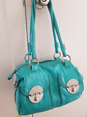 AU29.95 • Buy MIMCO TURQUOISE PATENT LEATHER Turnlock BAG With Silver Hardware