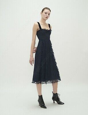 AU300 • Buy ALEXA CHUNG Chantilly Lace Gathered Front Dress In Blue Size AU8 RRP$700