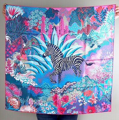 View Details HERMES X ALICE SHIRLEY Mountain Zebra 100% Silk Large Vibrant Square Scarf • 499.99$