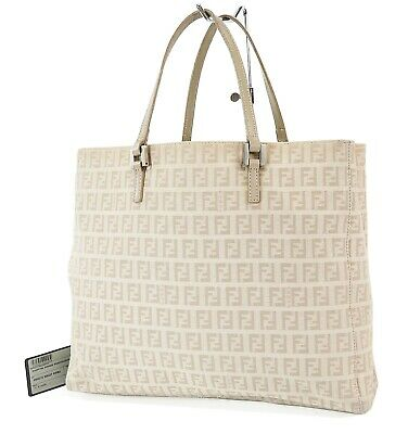 £214.71 • Buy Authentic FENDI Beige Zucca Canvas And Leather Tote Hand Bag Purse #37671