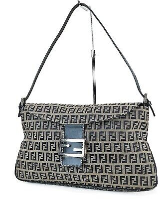 £260.39 • Buy Authentic FENDI Blue Zucca Canvas And Leather Tote Hand Bag Purse #41031