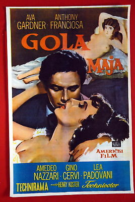 Naked Maja Goya Ava Gardner Anthony Franciosa 1958 Rare Exyu Movie Poster • 108.53£