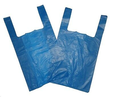 2000 STRONG BLUE VEST CARRIER BAGS LARGE SIZE 11 X 17 X 21 18mu Approx • 27.50£