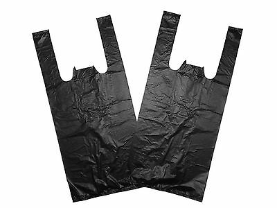 100 Large Strong Black Vest Carrier Bags 11 X 17 X 21  • 4.50£