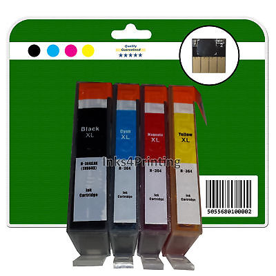 4 Non-OEM Chipped Ink Cartridges For HP B110a B110c B110d B110e 364x4 XL • 6£
