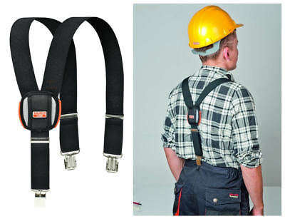 NEW Bahco Black Padded Adjustable Work Braces With Heavy Duty Trouser Clips • 16.90£