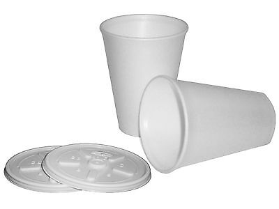 500 Polystyrene 12oz Insulated Foam Tea Coffee Dart Cups With Lids • 42.95£