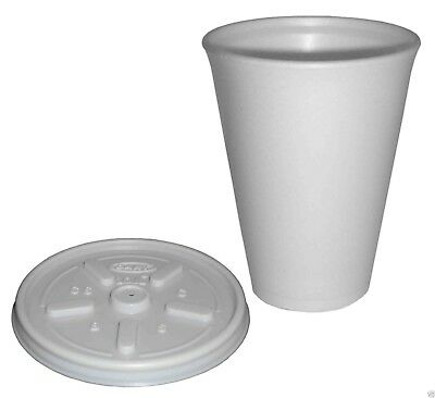 Polystyrene 16 Oz Insulated Foam Tea Coffee Dart Cups With Lids 100 FREE P&P • 19.95£