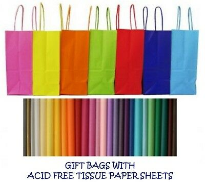 PARTY GIFT BAGS X 10 - WITH TISSUE PAPER - BIRTHDAY ~ WEDDINGS ~ CHRISTENINGS • 5.85£