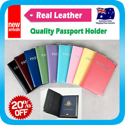 AU8.95 • Buy Passport Holder Cover Card Case Protector Real Leather Travel Wallet Organizer