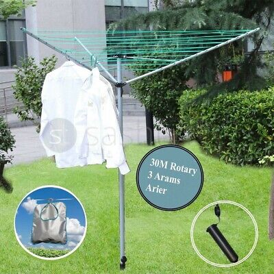 £27.95 • Buy 3 Arm 30m Rotary Clothes Airer Washing Line Dryer Garden Ground Spike Cover New