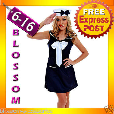 AU23.70 • Buy G42 Ladies 50s Pin Up Navy Sailor Rockabilly Vintage Fancy Dress Party Costume