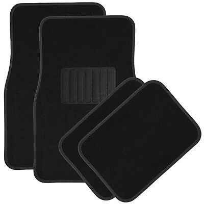 $12.02 • Buy Car Floor Mats For Auto 4pc Carpet Semi Custom Fit Heavy Duty W/Heel Pad Black