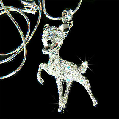£27.30 • Buy ~BAMBI DEER Made With Swarovski Crystal Fawn Jewelry Necklace Cute Xmas Gift New